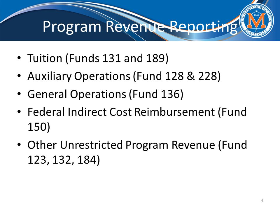 Program Revenue Reporting Tuition (Funds 131 and 189) Auxiliary Operations (Fund 128 & 228) General Operations (Fund 136) Federal Indirect Cost Reimbursement (Fund 150) Other Unrestricted Program Revenue (Fund 123, 132, 184) 4