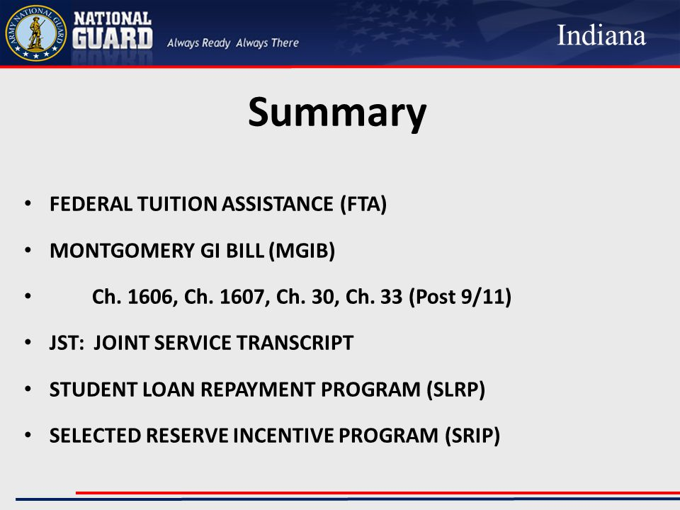 Summary FEDERAL TUITION ASSISTANCE (FTA) MONTGOMERY GI BILL (MGIB) Ch.