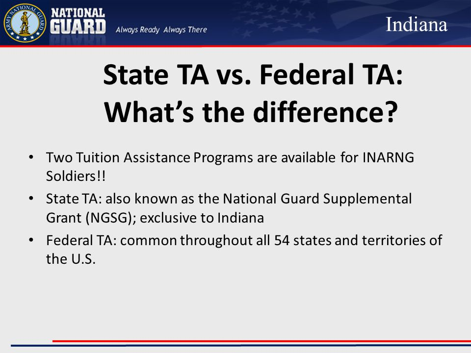 National Guard Supplemental Grant (NGSG) Key Points Up to 100% of certain tuition costs Attend State funded college/university Available for up to 4 years, 8 semesters, or 12 quarters or trimesters of state financial aid (8 years from the date aid is first received to use the 4 years of eligibility) Eligible for part-time (3-11 SHs) and full-time (12-15 SHs) Eligible for distance learning, online, correspondence, & classroom courses Indiana National Guard (INNG) reserves the right, in cooperation with the Division of Student Financial Aid (SFA), to revoke for cause the NGSG at any time Indiana