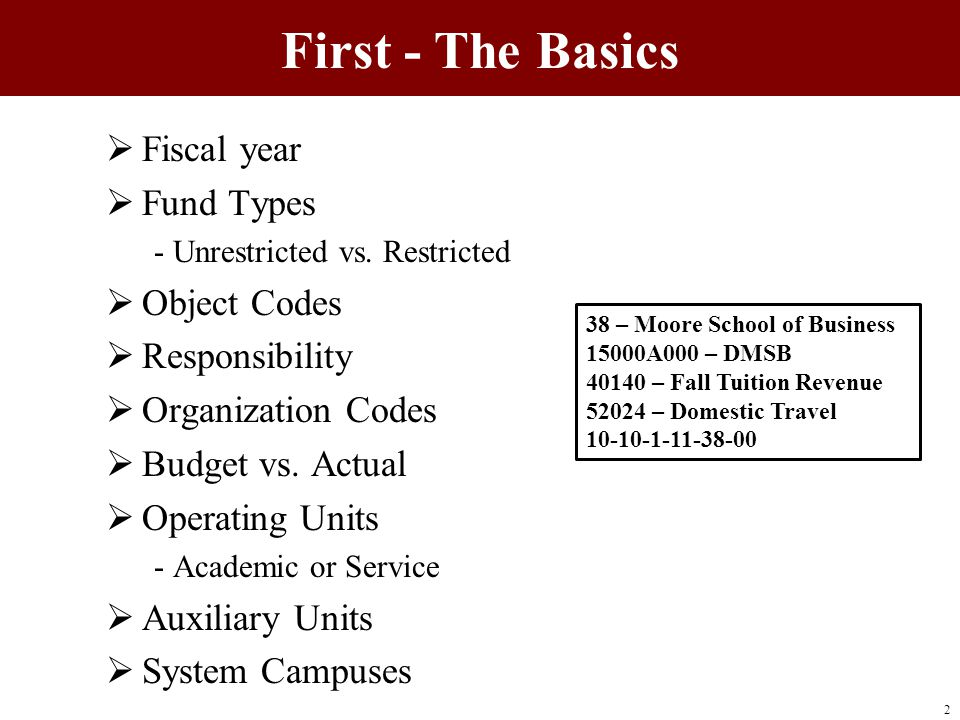First - The Basics  Fiscal year  Fund Types - Unrestricted vs. Restricted  Object Codes  Responsibility  Organization Codes  Budget vs. Actual 