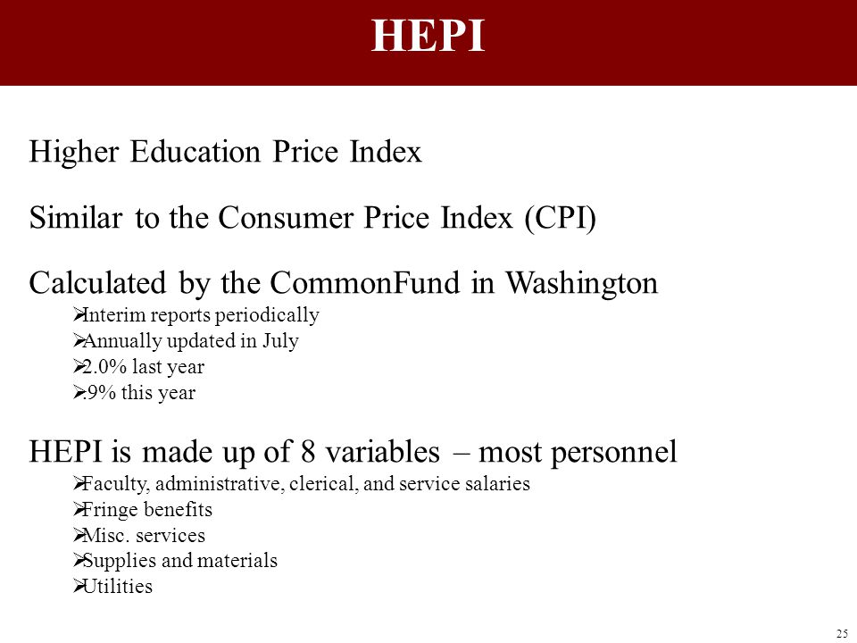 Higher Education Price Index Similar to the Consumer Price Index (CPI) Calculated by the CommonFund in Washington  Interim reports periodically  Ann