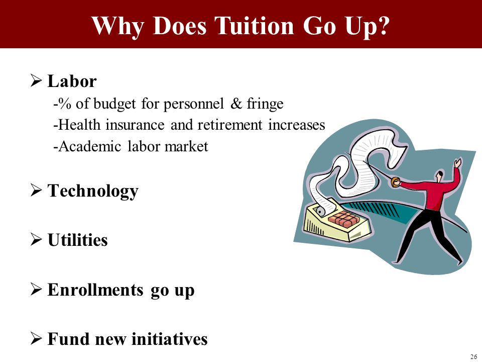  Labor -% of budget for personnel & fringe -Health insurance and retirement increases -Academic labor market  Technology  Utilities  Enrollments go up  Fund new initiatives Why Does Tuition Go Up.