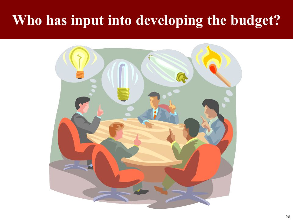 Who has input into developing the budget? 28