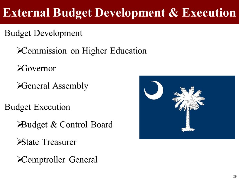 External Budget Development & Execution Budget Development  Commission on Higher Education  Governor  General Assembly Budget Execution  Budget & Control Board  State Treasurer  Comptroller General 29