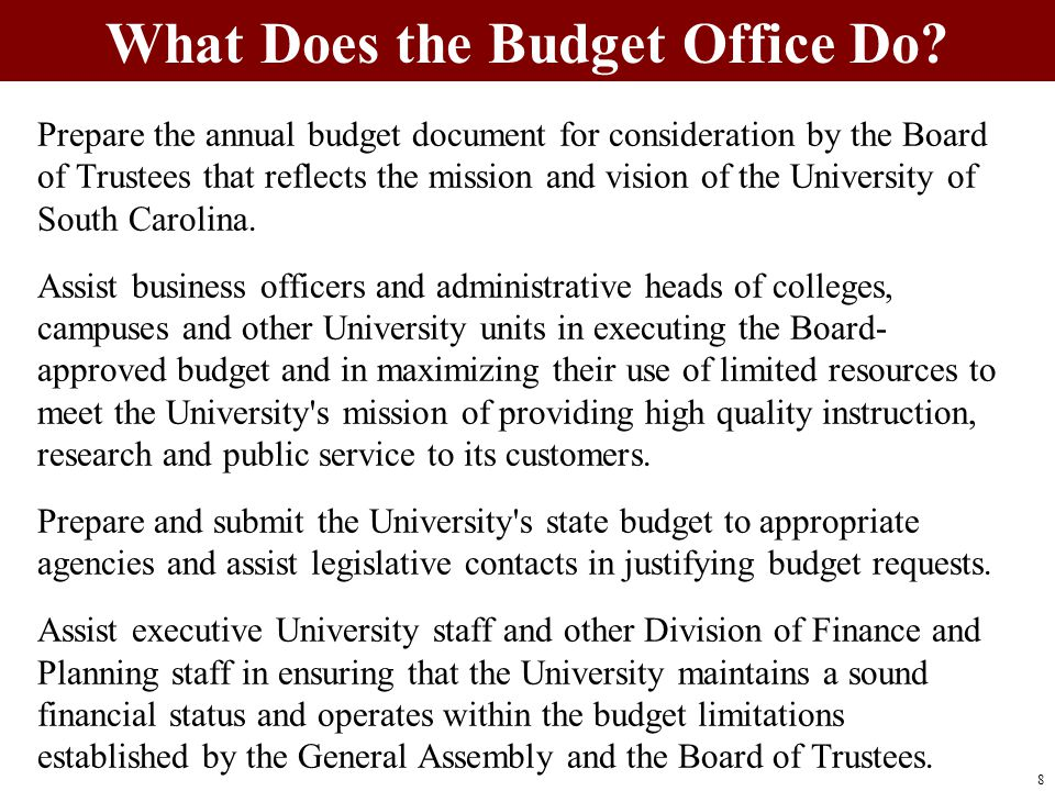 Prepare the annual budget document for consideration by the Board of Trustees that reflects the mission and vision of the University of South Carolina.