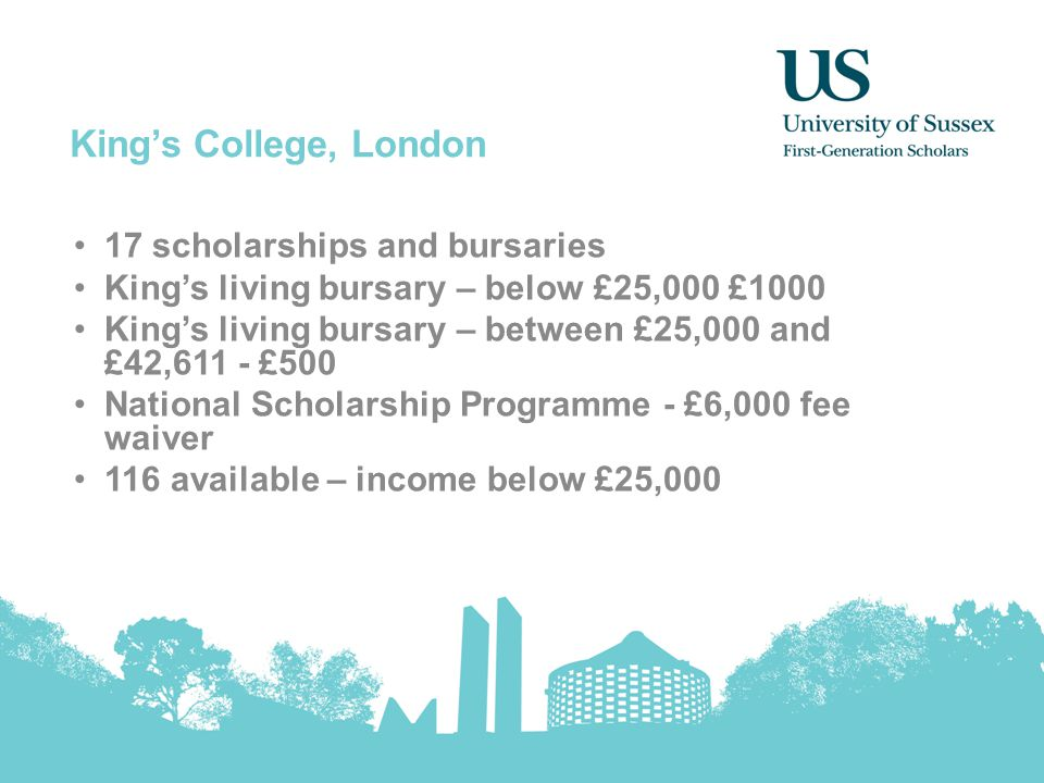 King's College, London 17 scholarships and bursaries King's living bursary – below £25,000 £1000 King's living bursary – between £25,000 and £42,611 -