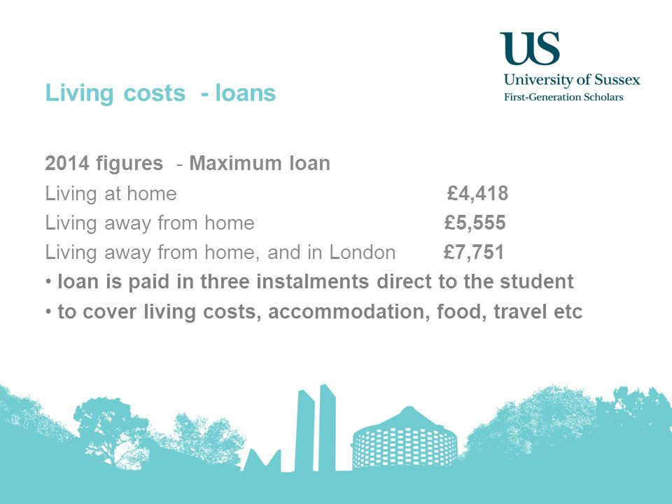 Living costs - loans 2014 figures - Maximum loan Living at home £4,418 Living away from home £5,555 Living away from home, and in London £7,751 loan i