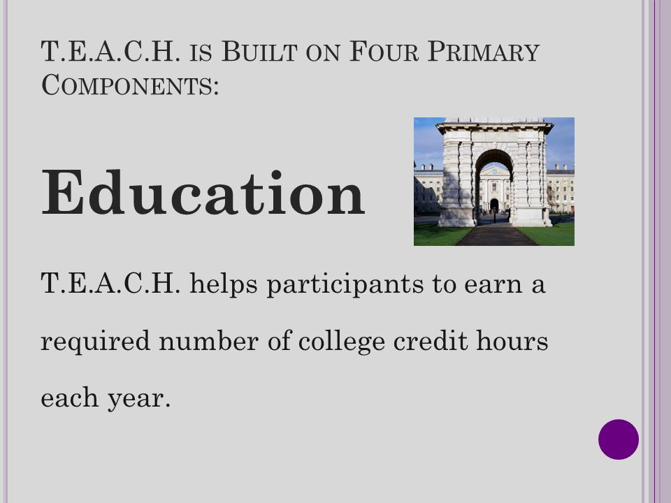 T.E.A.C.H. IS B UILT ON F OUR P RIMARY C OMPONENTS : Education T.E.A.C.H. helps participants to earn a required number of college credit hours each ye