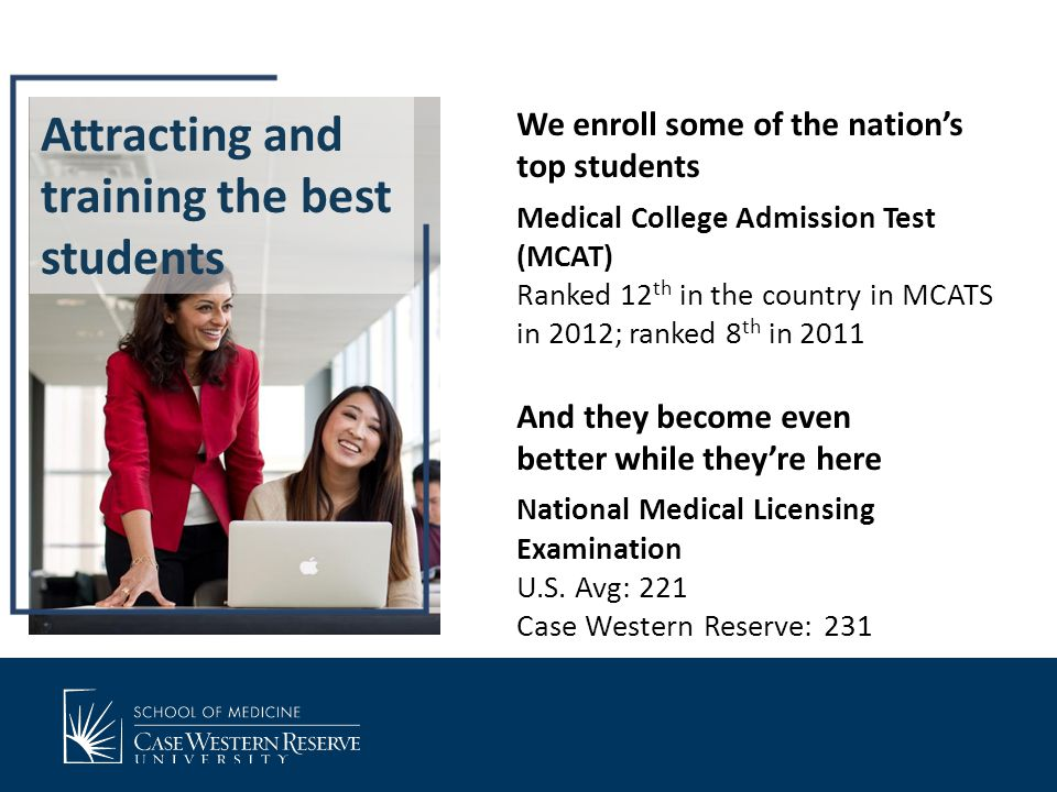 Attracting and training the best students We enroll some of the nation's top students Medical College Admission Test (MCAT) Ranked 12 th in the country in MCATS in 2012; ranked 8 th in 2011 And they become even better while they're here National Medical Licensing Examination U.S.