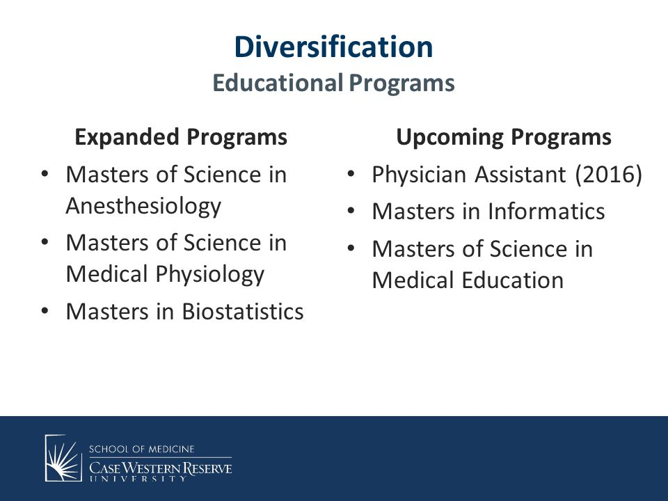 Diversification Educational Programs Expanded Programs Masters of Science in Anesthesiology Masters of Science in Medical Physiology Masters in Biostatistics Upcoming Programs Physician Assistant (2016) Masters in Informatics Masters of Science in Medical Education