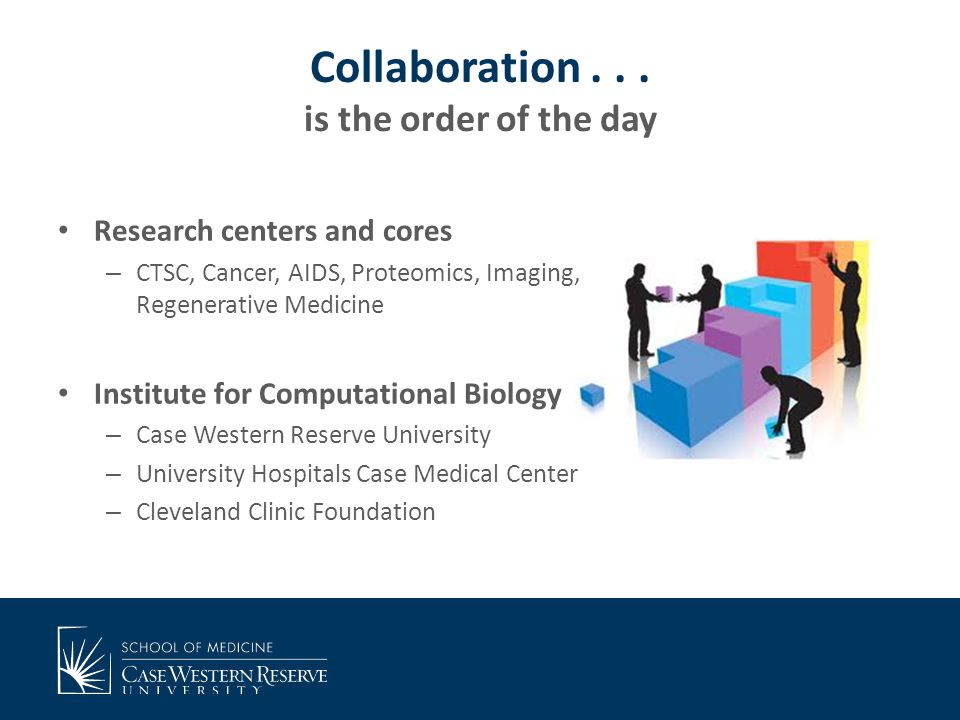 Collaboration... is the order of the day Research centers and cores – CTSC, Cancer, AIDS, Proteomics, Imaging, Regenerative Medicine Institute for Com