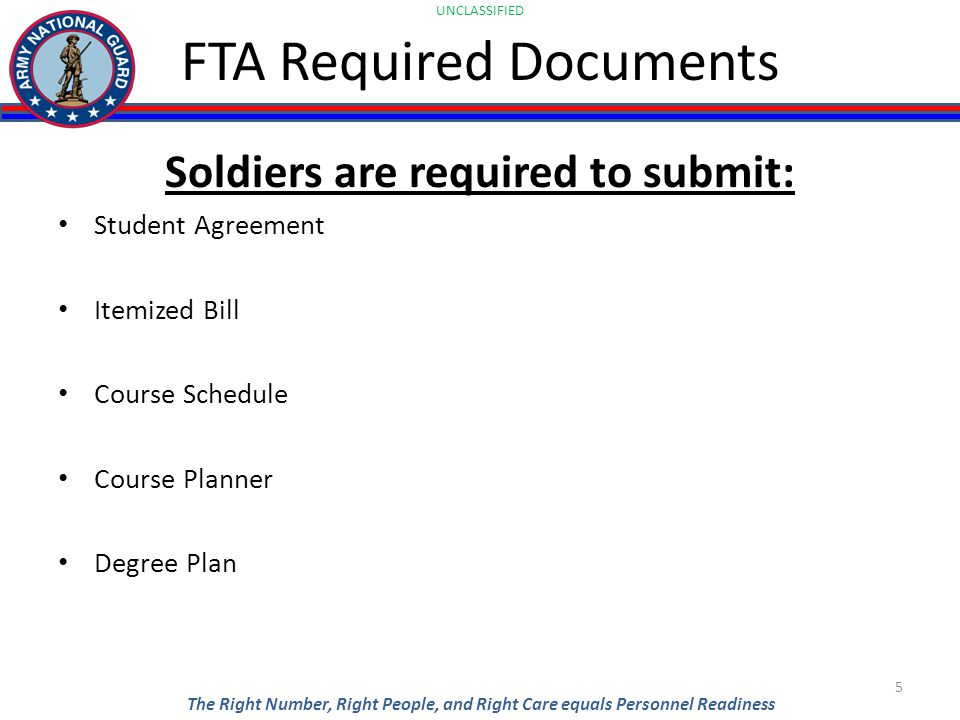UNCLASSIFIED The Right Number, Right People, and Right Care equals Personnel Readiness Soldiers are required to submit: Student Agreement Itemized Bill Course Schedule Course Planner Degree Plan 5 FTA Required Documents
