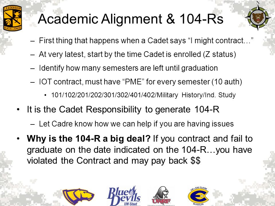 Academic Alignment & 104-Rs –First thing that happens when a Cadet says I might contract… –At very latest, start by the time Cadet is enrolled (Z status) –Identify how many semesters are left until graduation –IOT contract, must have PME for every semester (10 auth) 101/102/201/202/301/302/401/402/Military History/Ind.