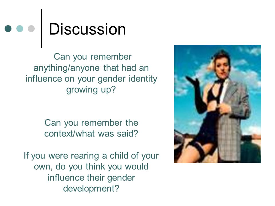 Discussion Can you remember anything/anyone that had an influence on your gender identity growing up? Can you remember the context/what was said? If y
