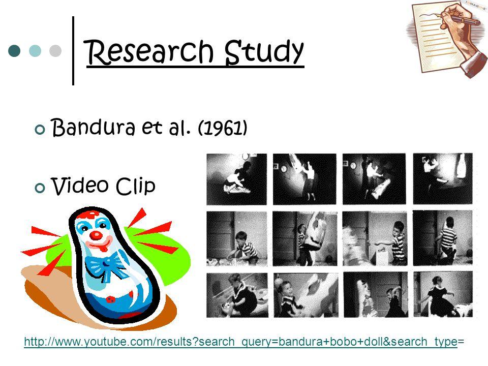 Research Study Bandura et al. (1961) Video Clip http://www.youtube.com/results?search_query=bandura+bobo+doll&search_typehttp://www.youtube.com/result