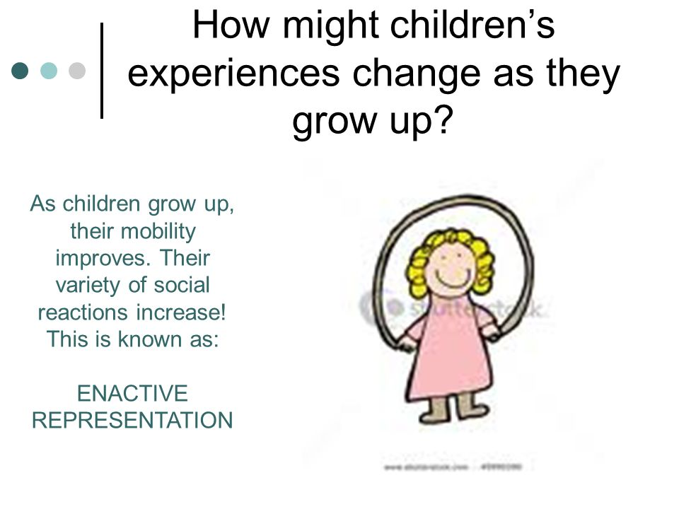How might children's experiences change as they grow up? As children grow up, their mobility improves. Their variety of social reactions increase! Thi