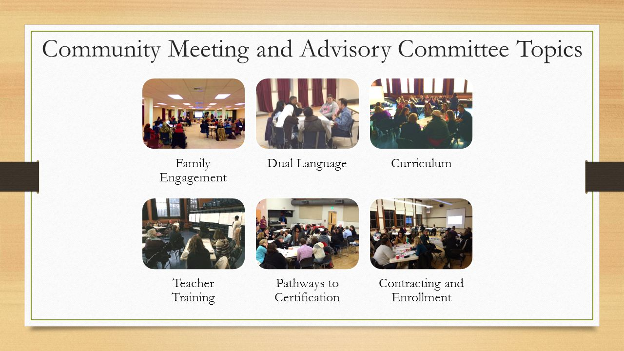 Community Meeting and Advisory Committee Topics Family Engagement Dual LanguageCurriculum Teacher Training Pathways to Certification Contracting and Enrollment