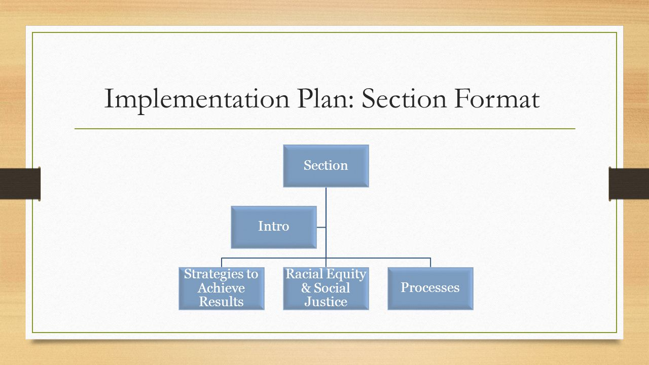 Implementation Plan: Section Format Section Strategies to Achieve Results Racial Equity & Social Justice Processes Intro