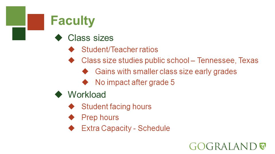 Faculty  Class sizes  Student/Teacher ratios  Class size studies public school – Tennessee, Texas  Gains with smaller class size early grades  No impact after grade 5  Workload  Student facing hours  Prep hours  Extra Capacity - Schedule