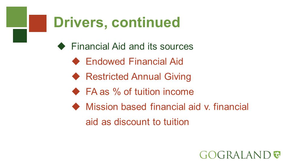 Drivers, continued  Financial Aid and its sources  Endowed Financial Aid  Restricted Annual Giving  FA as % of tuition income  Mission based financial aid v.