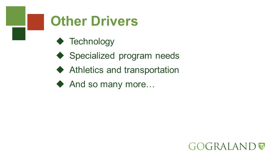 Other Drivers  Technology  Specialized program needs  Athletics and transportation  And so many more…