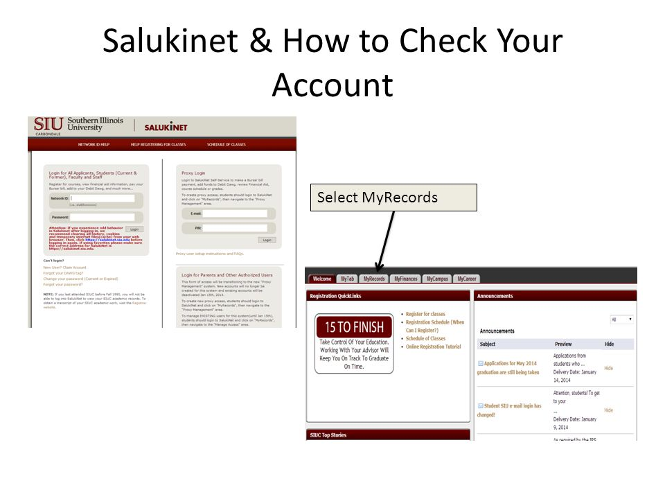Salukinet & How to Check Your Account Select MyRecords