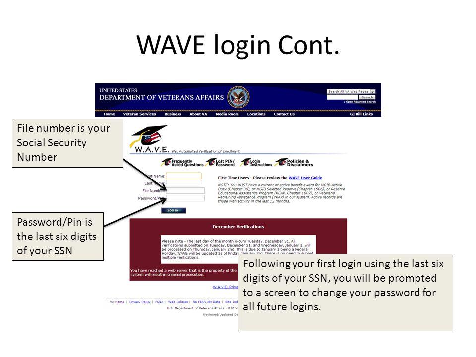 WAVE login Cont.