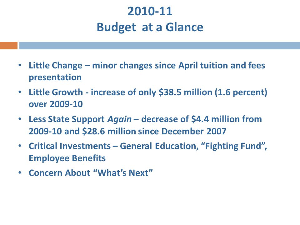 2010-11 Budget at a Glance Little Change – minor changes since April tuition and fees presentation Little Growth - increase of only $38.5 million (1.6