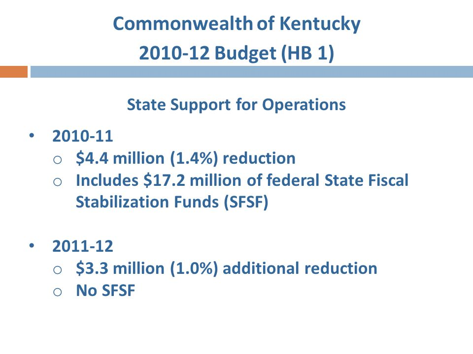Commonwealth of Kentucky 2010-12 Budget (HB 1) Capital Projects – Agency Bond Authorizations Construct New Housing$30,000,000 Guaranteed Energy Savings Performance Contract$25,000,000 Upgrade Student Center Infrastructure$17,805,000 Dentistry Clinical Projects$10,990,000 Construct Data Center$40,000,000 Purchase Pollution Controls$22,600,000 Construct Building Elevator Systems$5,000,000
