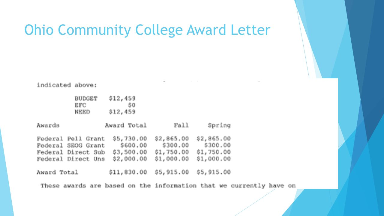 Ohio Community College Award Letter