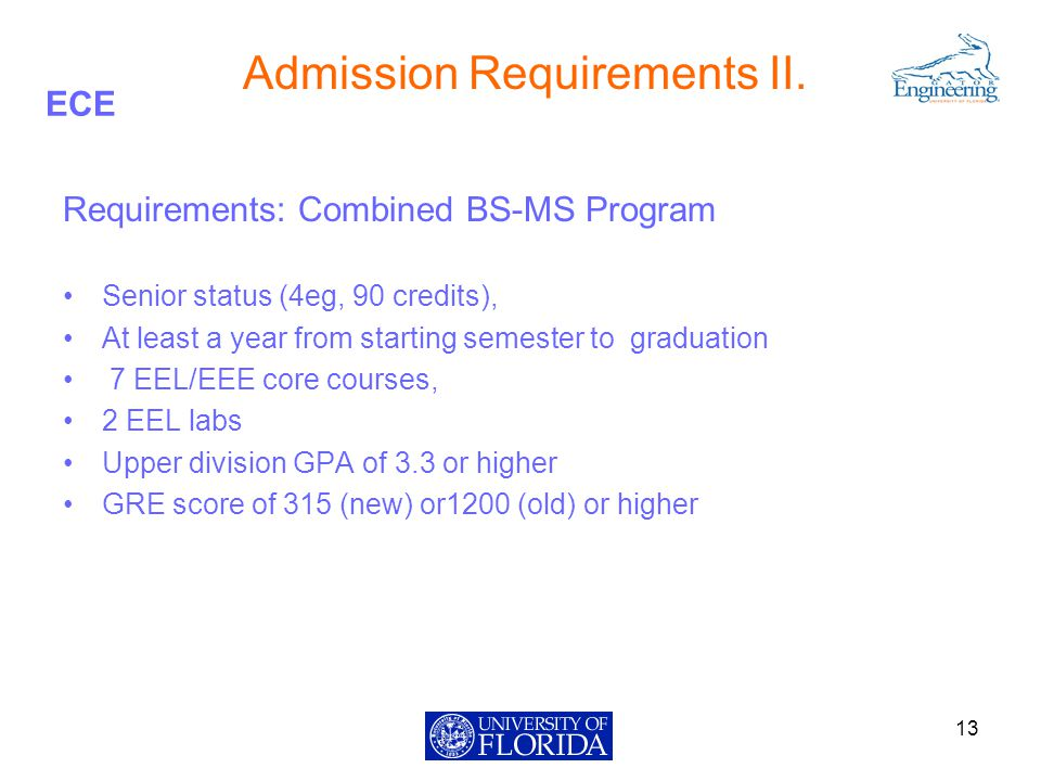 ECE Admission Requirements II.