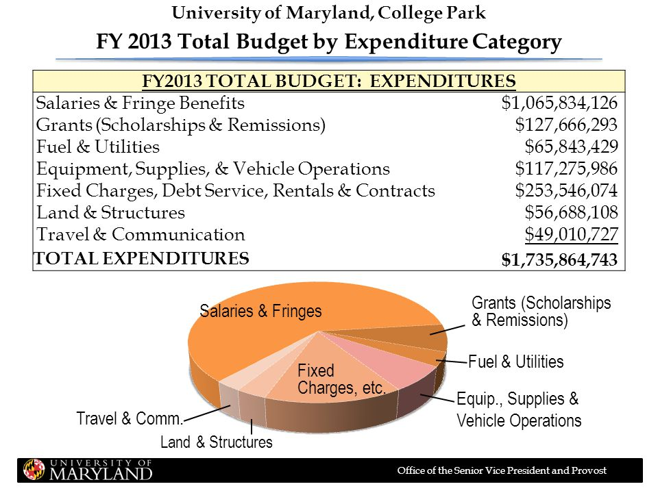 Office of the Senior Vice President and Provost FY2013 TOTAL BUDGET: EXPENDITURES Salaries & Fringe Benefits$1,065,834,126 Grants (Scholarships & Remi