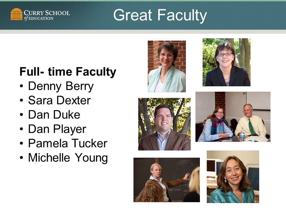 Great Faculty Full- time Faculty Denny Berry Sara Dexter Dan Duke Dan Player Pamela Tucker Michelle Young