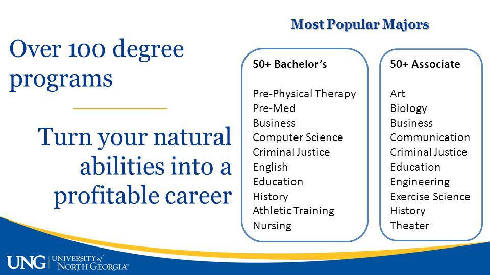Most Popular Majors 50+ Bachelor's Pre-Physical Therapy Pre-Med Business Computer Science Criminal Justice English Education History Athletic Training Nursing 50+ Associate Art Biology Business Communication Criminal Justice Education Engineering Exercise Science History Theater Over 100 degree programs Turn your natural abilities into a profitable career