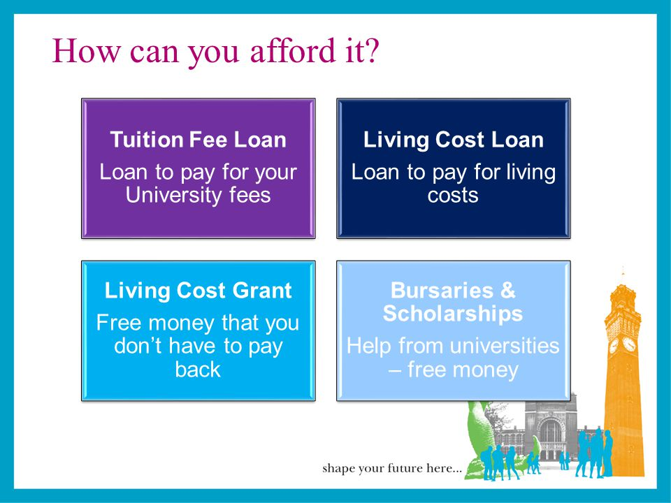 When and how to apply for loans and grants You should apply as soon as you ve applied for your course Apply online at www.direct.gov.uk/studentfinance Student Finance England (or relevant SLC agency) will confirm if you qualify for a loan or grant once you have completed your application Applying for financial support