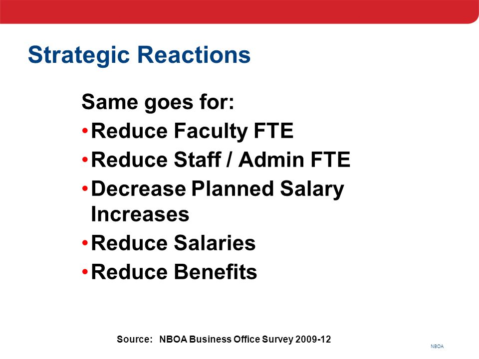 NBOA Strategic Reactions Same goes for: Reduce Faculty FTE Reduce Staff / Admin FTE Decrease Planned Salary Increases Reduce Salaries Reduce Benefits
