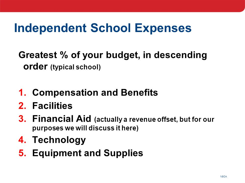 NBOA Independent School Expenses Greatest % of your budget, in descending order (typical school) 1.Compensation and Benefits 2.Facilities 3.Financial
