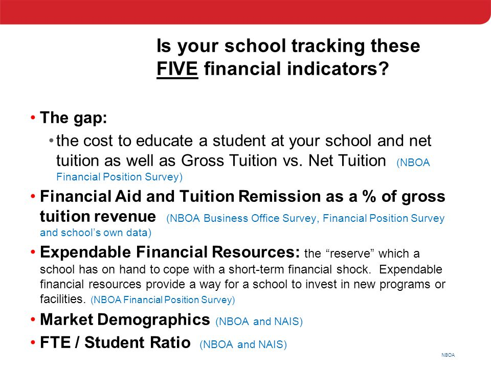 NBOA Is your school tracking these FIVE financial indicators? The gap: the cost to educate a student at your school and net tuition as well as Gross T