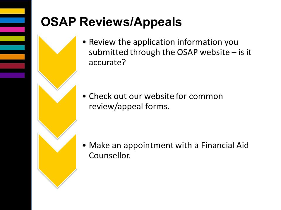 Review the application information you submitted through the OSAP website – is it accurate.