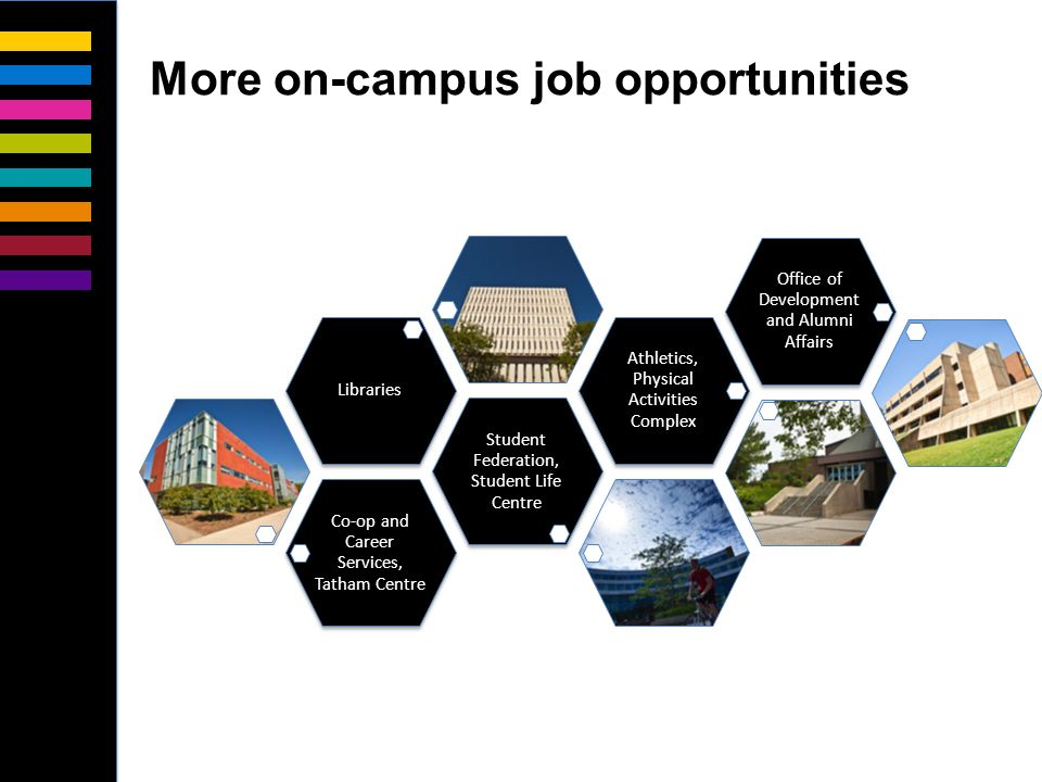 Co-op and Career Services, Tatham Centre Student Federation, Student Life Centre Libraries Athletics, Physical Activities Complex Office of Development and Alumni Affairs More on-campus job opportunities