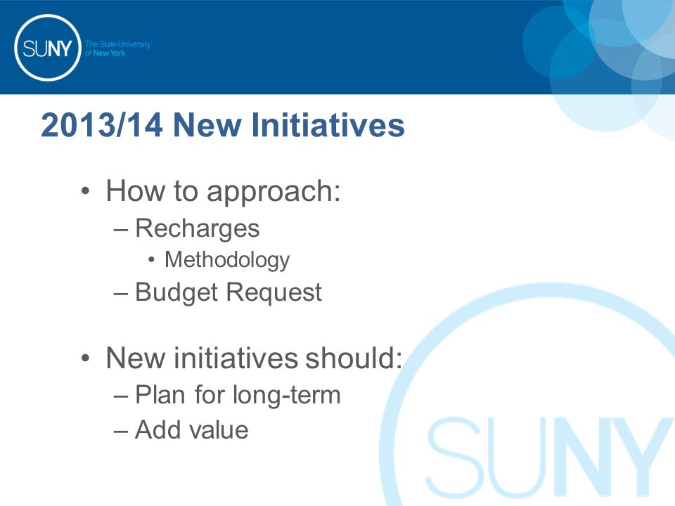 2013/14 New Initiatives How to approach: –Recharges Methodology –Budget Request New initiatives should: –Plan for long-term –Add value