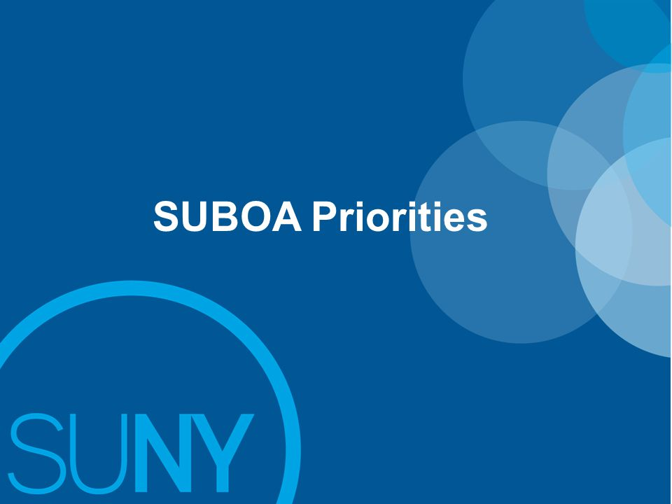 Prioritization / Focus of SUBOA Agenda Items Operating / Capital Budget Request Common Application Recharge Process Hospitals Update Start-Up NYCapital / FMP Resource Allocation BI Governance Shared Services IT 35 Points of Light Tuition Rates Open SUNYTAP ProgramFees Res.