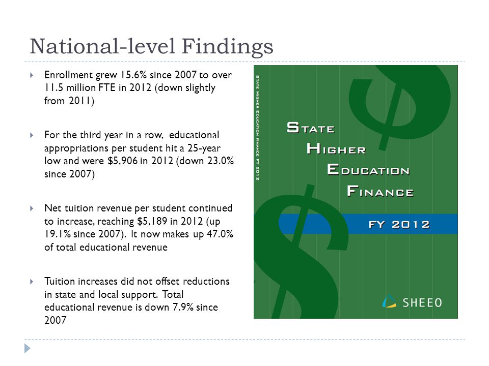 National-level Findings  Enrollment grew 15.6% since 2007 to over 11.5 million FTE in 2012 (down slightly from 2011)  For the third year in a row, educational appropriations per student hit a 25-year low and were $5,906 in 2012 (down 23.0% since 2007)  Net tuition revenue per student continued to increase, reaching $5,189 in 2012 (up 19.1% since 2007).
