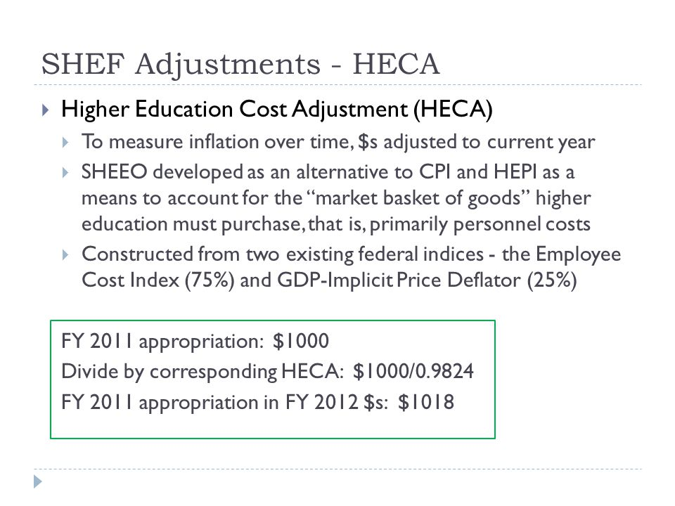 SHEF Adjustments - HECA  Higher Education Cost Adjustment (HECA)  To measure inflation over time, $s adjusted to current year  SHEEO developed as an alternative to CPI and HEPI as a means to account for the market basket of goods higher education must purchase, that is, primarily personnel costs  Constructed from two existing federal indices - the Employee Cost Index (75%) and GDP-Implicit Price Deflator (25%) FY 2011 appropriation: $1000 Divide by corresponding HECA: $1000/0.9824 FY 2011 appropriation in FY 2012 $s: $1018