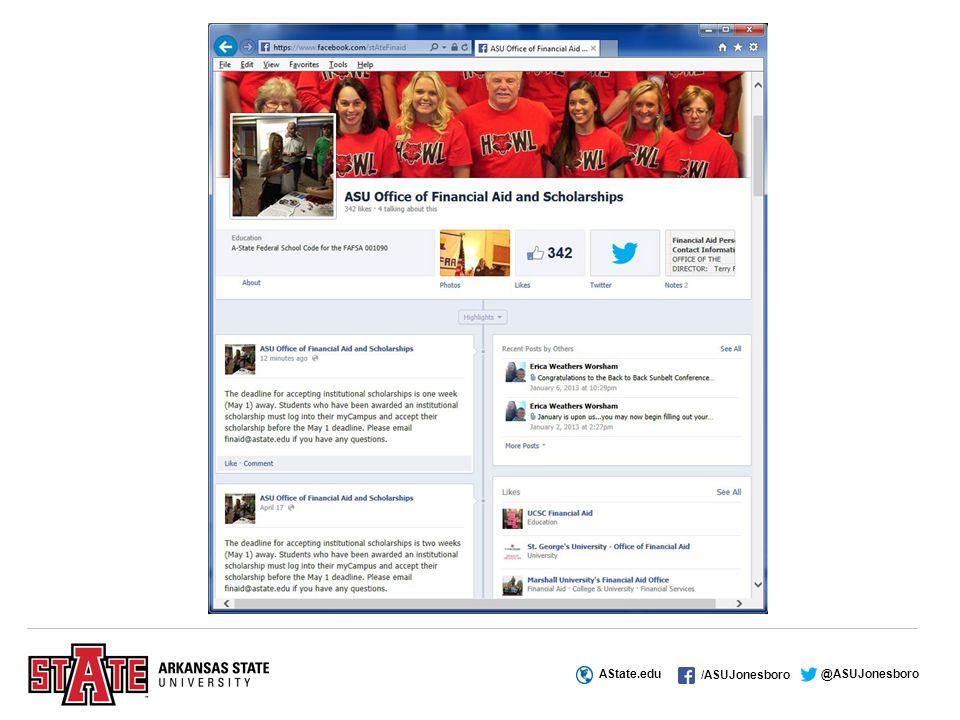 AState.edu /ASUJonesboro @ASUJonesboro We're here to assist you during the next four years!