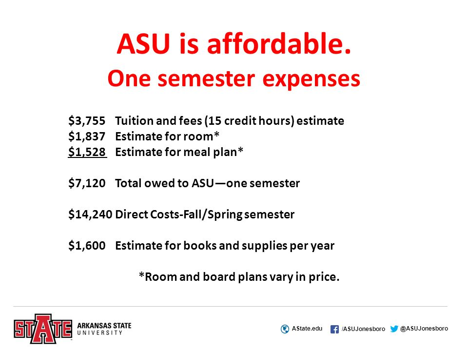 AState.edu /ASUJonesboro @ASUJonesboro ASU is affordable.