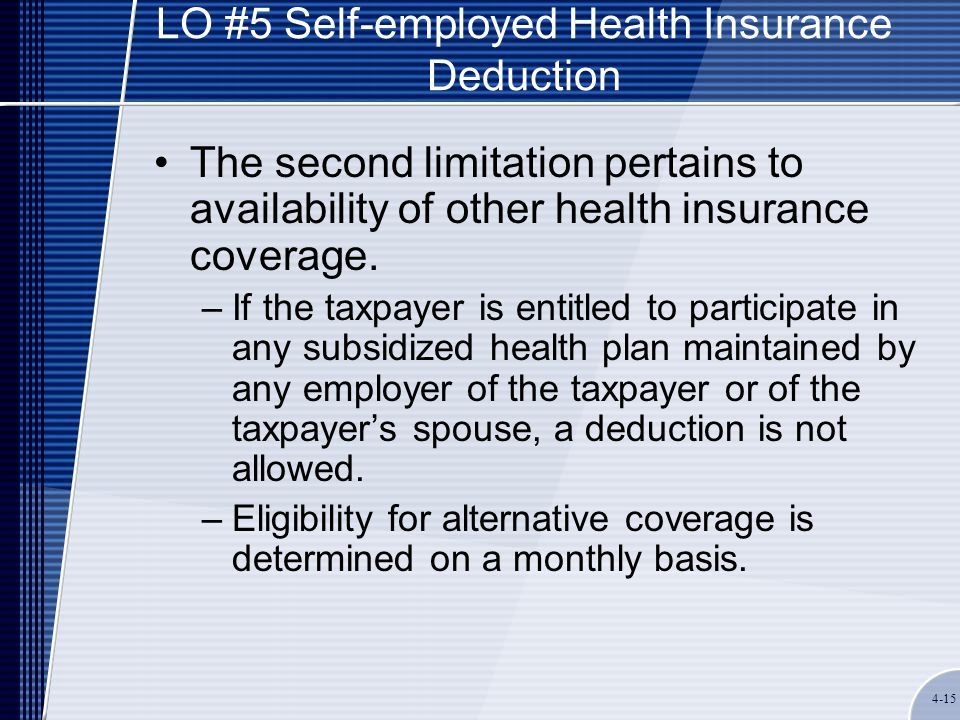4-15 LO #5 Self-employed Health Insurance Deduction The second limitation pertains to availability of other health insurance coverage. –If the taxpaye