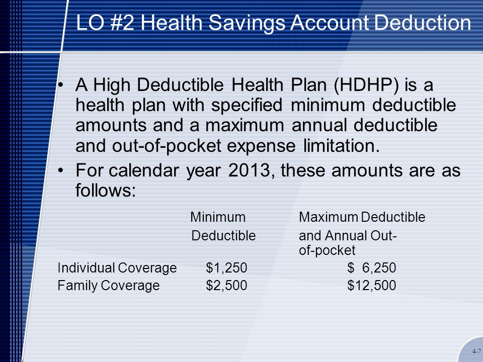 4-7 LO #2 Health Savings Account Deduction A High Deductible Health Plan (HDHP) is a health plan with specified minimum deductible amounts and a maximum annual deductible and out-of-pocket expense limitation.