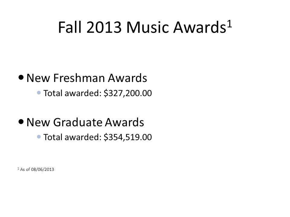 Fall 2013 Music Awards 1 New Freshman Awards Total awarded: $327,200.00 New Graduate Awards Total awarded: $354,519.00 1 As of 08/06/2013