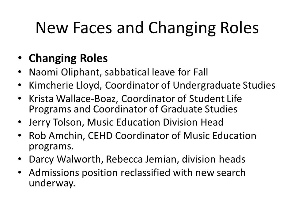 New Faces and Changing Roles Changing Roles Naomi Oliphant, sabbatical leave for Fall Kimcherie Lloyd, Coordinator of Undergraduate Studies Krista Wal